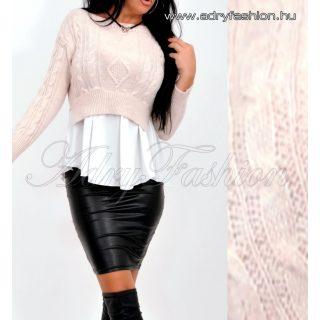 Bézs kötött anyagú női felső ing aljjal