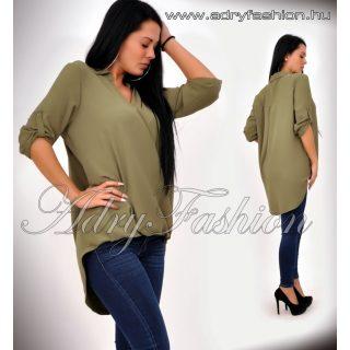 Keki átlapolt női laza ing elől rövidebb hátul hosszabb