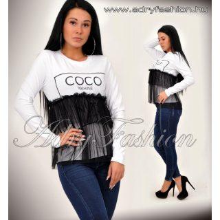 Fehér COCO tüll díszes női felső