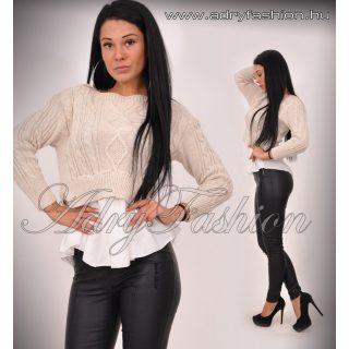 Bézs kötött rövid fazonú alul inghatású női pulcsi