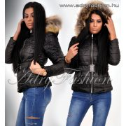Fekete csipke mintás női kabát övvel