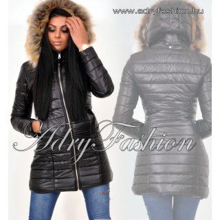 Fekete hosszított karcsúsított női kabát