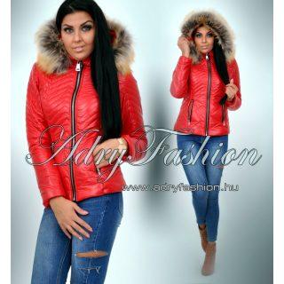 Piros szőrme kapucnis  fényes kabát