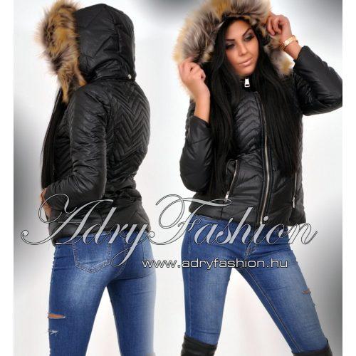 FEKETE szőrme kapucnis kabát