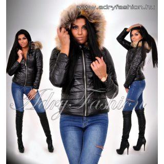 Fekete rövid fazonú karcsúsított női kapucnis kabát