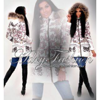 Fehér barokk mintás karcsúsított női kabát
