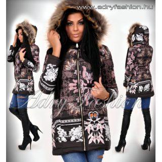 Fekete barokk mintás karcsúsított női kabát