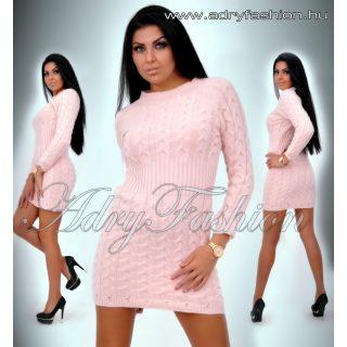 Mályvás rózsaszín fonott kötött női ruha