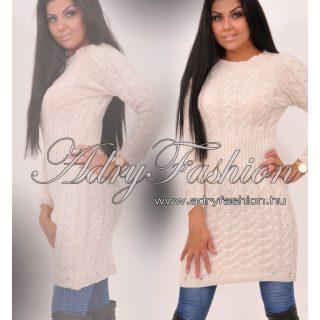 Bézs színű fonott kötött női ruha
