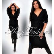 Fekete átlapolt kötött női ruha