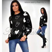 Fekete fehér mickey pulóver