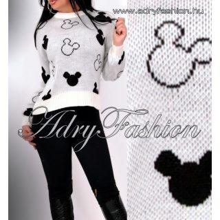 Fehér kötött mickey pulóver