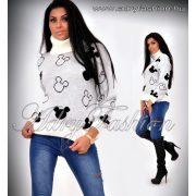 Fehér fekete mickey garbós pulóver