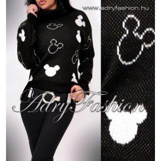 Fekete fehér kötött mickey garbós pulóver
