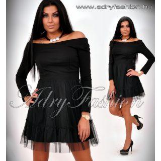 Fekete alkalmi női ruha vállra húzható, tüll díszes