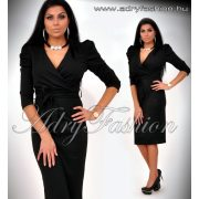 Buggyos ujjú alkalmi női ruha fekete