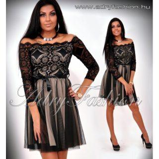 Fekete bézs  csipke díszes alkalmi női ruha