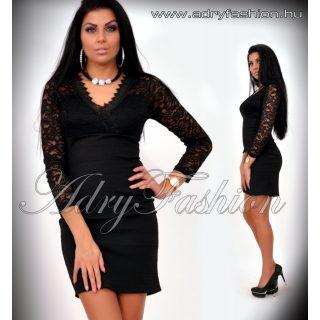 Fekete csipke díszes alkalmi női ruha