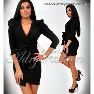 Csillámos fekete buggyos ujjú átlapolt alkalmi női ruha megkötővel