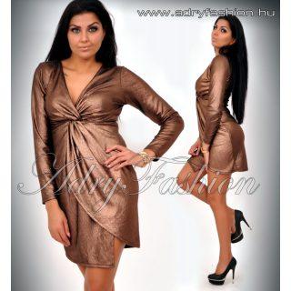 Csillámos mellénél csavart barna női ruha