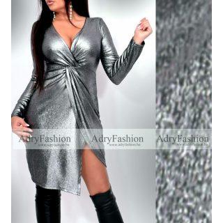 Ezüst Csillámos mellénél csavart alkalmi női ruha