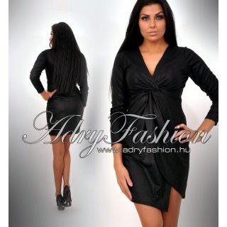 Csillámos mellénél csavart fekete alkalmi női ruha