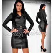 Fekete cipzáros műbőr ruha S -es