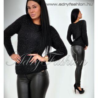 Ewelin fekete ezüst szálas szőrös pulcsi