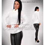 Elza fehér garbós kötött - szőrös pulcsi