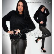 Elza fekete garbós kötött - szőrös pulcsi