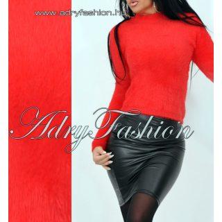 Kimberly piros magasított nyakú szőrös pulcsi mohair jellegű