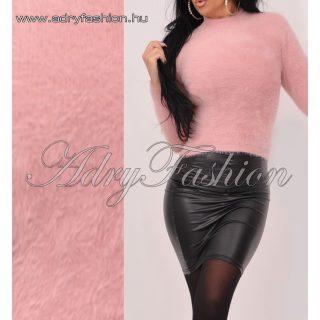 Kimberly púder rózsaszín moher jellegű  magasított nyakú szőrös pulcsi