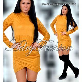 Mustár színű  garbós húzott női ruha