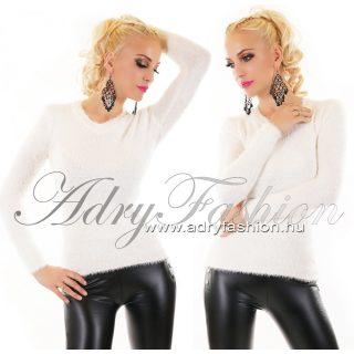 Törtfehér színű mohair jellegű pulóver