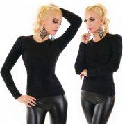 Fekete színű mohair jellegű pulóver