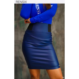 Rensix farmer kék gumis derekú műbőr szoknya