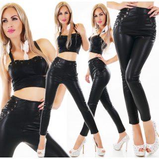 Oldalán fűzős bőrhatású nadrág