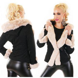 Szőrme díszes szőrme béléses elegáns kabát