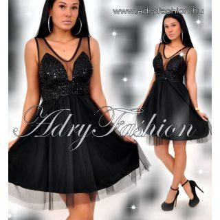Fekete színű flitterrel díszített alkalmi tüllös ruha