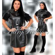 Fekete csinos bőrhatású ruha - övvel a derekán