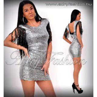 Ezüst flitteres alkalmi női ruha