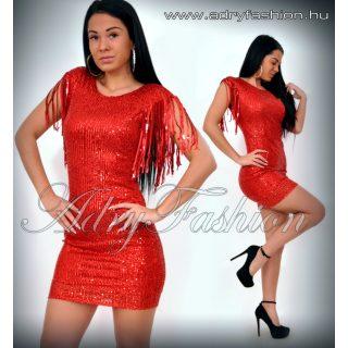 Piros flitteres díszes alkalmi női  ruha vállánál rojtos