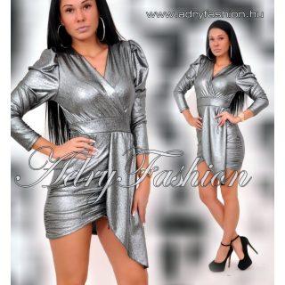 Ezüst átlapolt elegáns alkalmi női ruha
