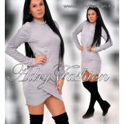 Szürke színű gumírozott női  ruha