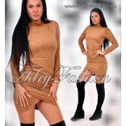 Csau barna gumírozott női ruha