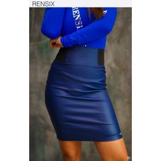 Rensix farmer kék színű gumis derekú műbőr szoknya