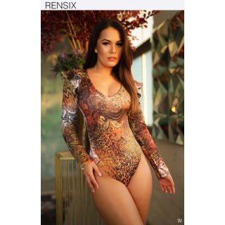Rensix barna mintás női body - vállán hullám fodros