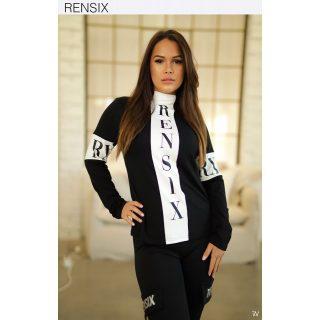 Rensix fekete fehér pamut garbós feliratos női felső