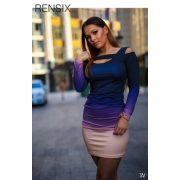 Rensix színátmenetes mellén kivágott csini női ruha