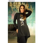Rensix sötétszürke finom kötött arany feliratos női ruha